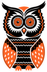 orange and black owl